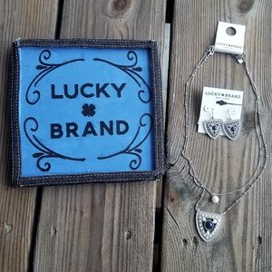 Lucky Brand Silver Drop Necklace and Earrings
